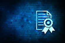 Certificate Paper Icon Abstract Blue Background Illustration Design