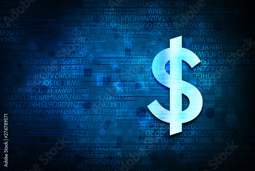 Dollar sign icon abstract blue background illustration design Tapéta, Fotótapéta