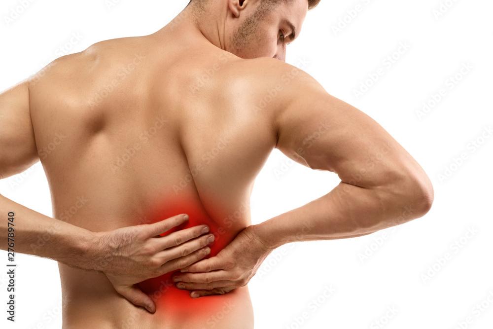 Fototapety, obrazy: Shirtless guy rubbing aching lower back