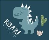 Fototapeta Dinusie - cute dinosaur print . childish vector illustration for kids t shirt, clothes