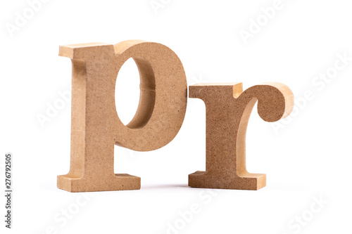Photo PR Word Alphabet Isolated (Public Relations)