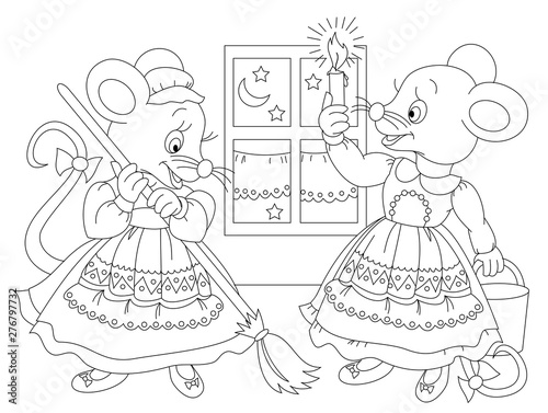 Black and white page for baby coloring book  Drawing of two