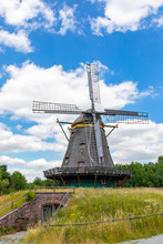 Windmill In Hessenpark, A Tourist Attraction With Architecture Of Ancient Towns In Germany