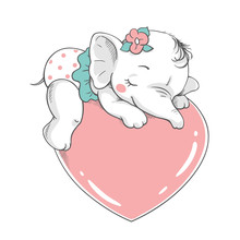 Vector Illustration Of A Cute Baby Girl Elephant, Sleeping On A Big Pink Heart.
