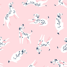 Cute Funny White Spotted Dogs On The Pink Background. Dalmatian Fabric Design. Vector Print With Dogs.
