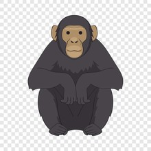 Chimpanzee Icon. Cartoon Illus...