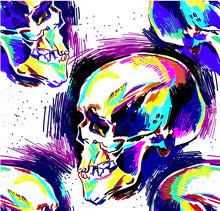 Seamless Pattern Human Skull, Colorful Drawing, Sketch. Skull, Death, Magic.