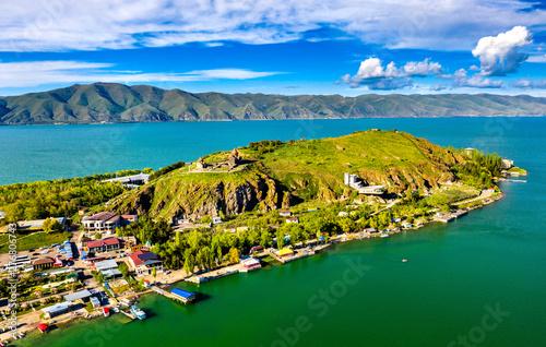 View of Sevan Island in Lake Sevan in Armenia Canvas Print