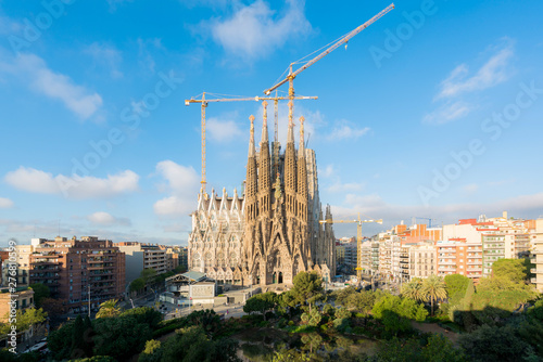 Aerial view of the Sagrada Familia, a large Roman Catholic church in Barcelona, Spain, designed by Catalan architect Antoni Gaudi Canvas Print