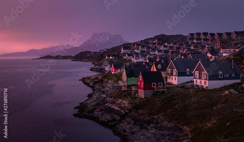 Fotografie, Obraz  Beautiful sunset in Nuuk, Capital of Greenland.