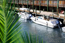 Close Up Docked Beautiful Boats At Wooden Dock On Canal In Florida, USA