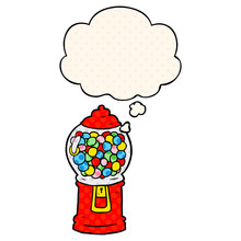 Cartoon Gumball Machine And Thought Bubble In Comic Book Style