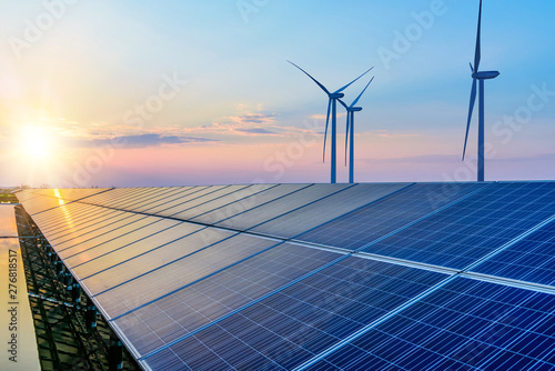 Obraz Solar panels and wind power generation equipment  - fototapety do salonu