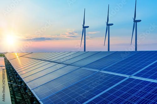 Solar panels and wind power generation equipment Fototapeta