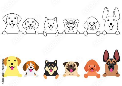 Obraz na plátne smiling big and small dogs border set