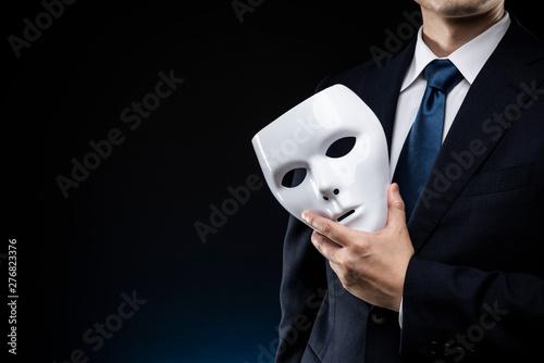 仮面とスーツを着た男性 Billede på lærred