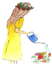 Girl In A Dress Watered Flower...