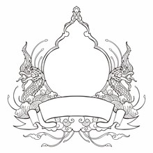King Of Nagas Frame With Thai Tradition Ornamental Style Design With Ribbon Label  For Write Some Wording  And Decorative Water Wave Spread Cloud Concept Like On Paradise Vector
