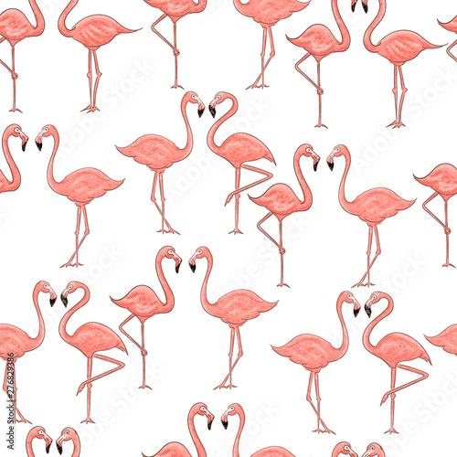 Canvas Prints Flamingo Cartoon pink flamingo seamless pattern on white background