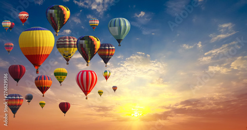 Recess Fitting Balloon Hot air balloons on blue sky and cloud multi-color background.