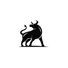 Flat Luxury Bull Logo Icon Des...