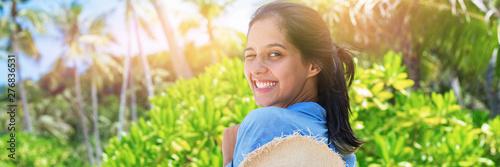 Ingelijste posters Oranje Portrait beautiful romantic woman lacy dress beach