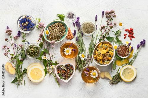 Photo  Various kinds of herbal tea