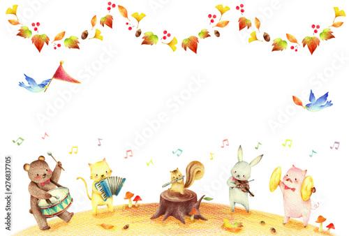 動物の音楽隊 秋 背景 Wallpaper Mural