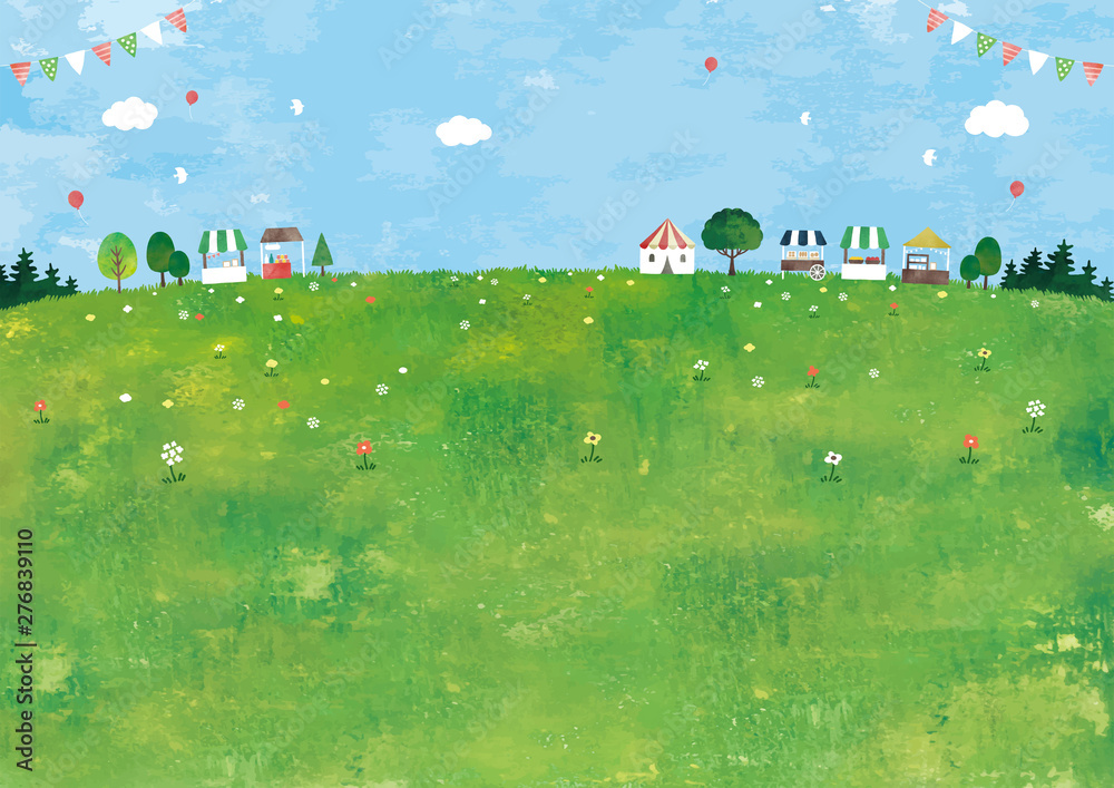 Fototapety, obrazy: マルシェと草原の風景油彩