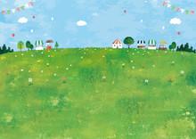 マルシェと草原の風景...