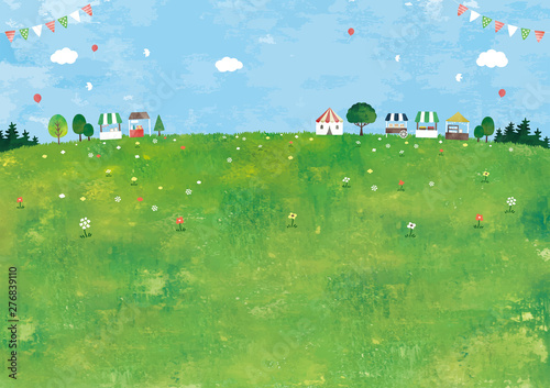 Obraz マルシェと草原の風景油彩 - fototapety do salonu