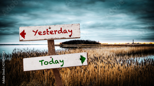Wall Sign Today versus Yesterday Wallpaper Mural