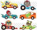 Fototapeta Fototapety na ścianę do pokoju dziecięcego - Vector set of cars race cartoon with funny racer