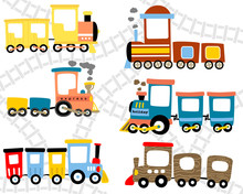 Vector Set Of Stem Train Cartoon