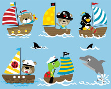 Vector Set Of Funny Sailor Cartoon On Sailboat With A Dolphin