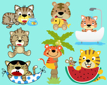 Vector Set Of Funny Cat Cartoon
