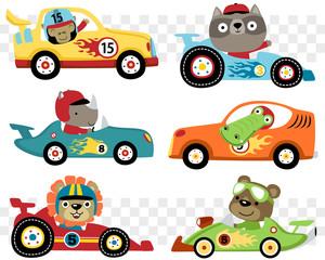 Vektorski skup automobila utrka crtić sa smiješno trkač