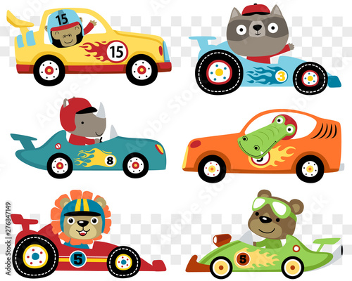 Vector set of cars race cartoon with funny racer