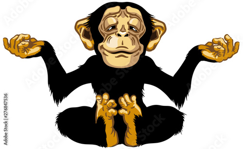 Foto cartoon chimp great ape or chimpanzee monkey sitting in lotus joga position and meditating
