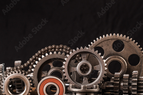 Fotografie, Obraz  Various car parts and accessories, on black  background - Image