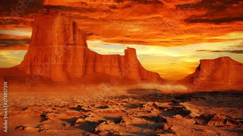 Desert landscape in red tones. Beautiful sunset in the desert of Iran. The nature of Persia.