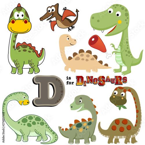Poster Creatures Vector set of dinosaurs cartoon