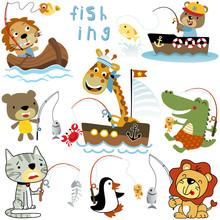 Vector Set Of Animals Cartoon Fishing