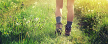 Young Woman Hiker Walking On Trail In Grassland