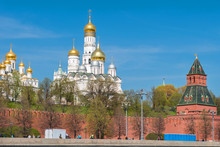 Moscow, Russia - May 6, 2019: View Of The Moscow Kremlin And Cathedrals On Cathedral Square On A Summer Day