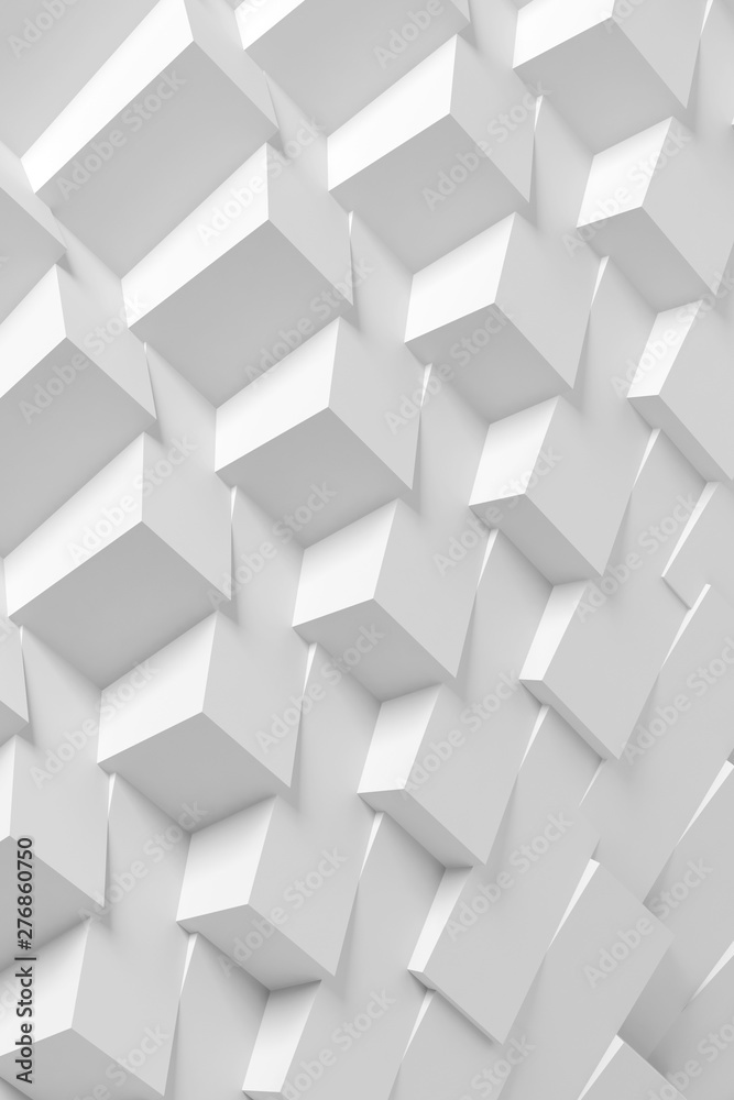 Fototapety, obrazy: Abstract white 3d geometric pattern