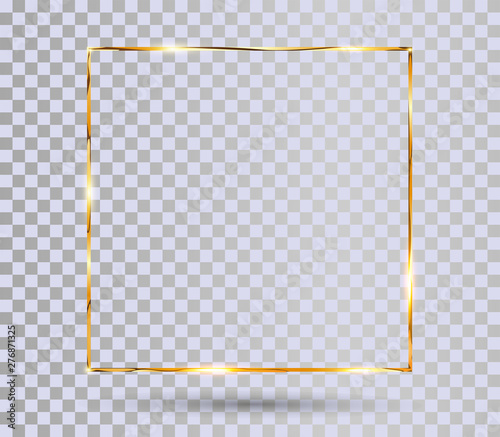 Gold Shiny Frame With Shadows Isolated On Transparent