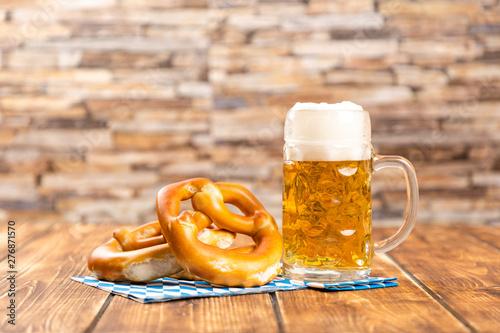 Fototapeta pretzel and beer for german oktoberfest