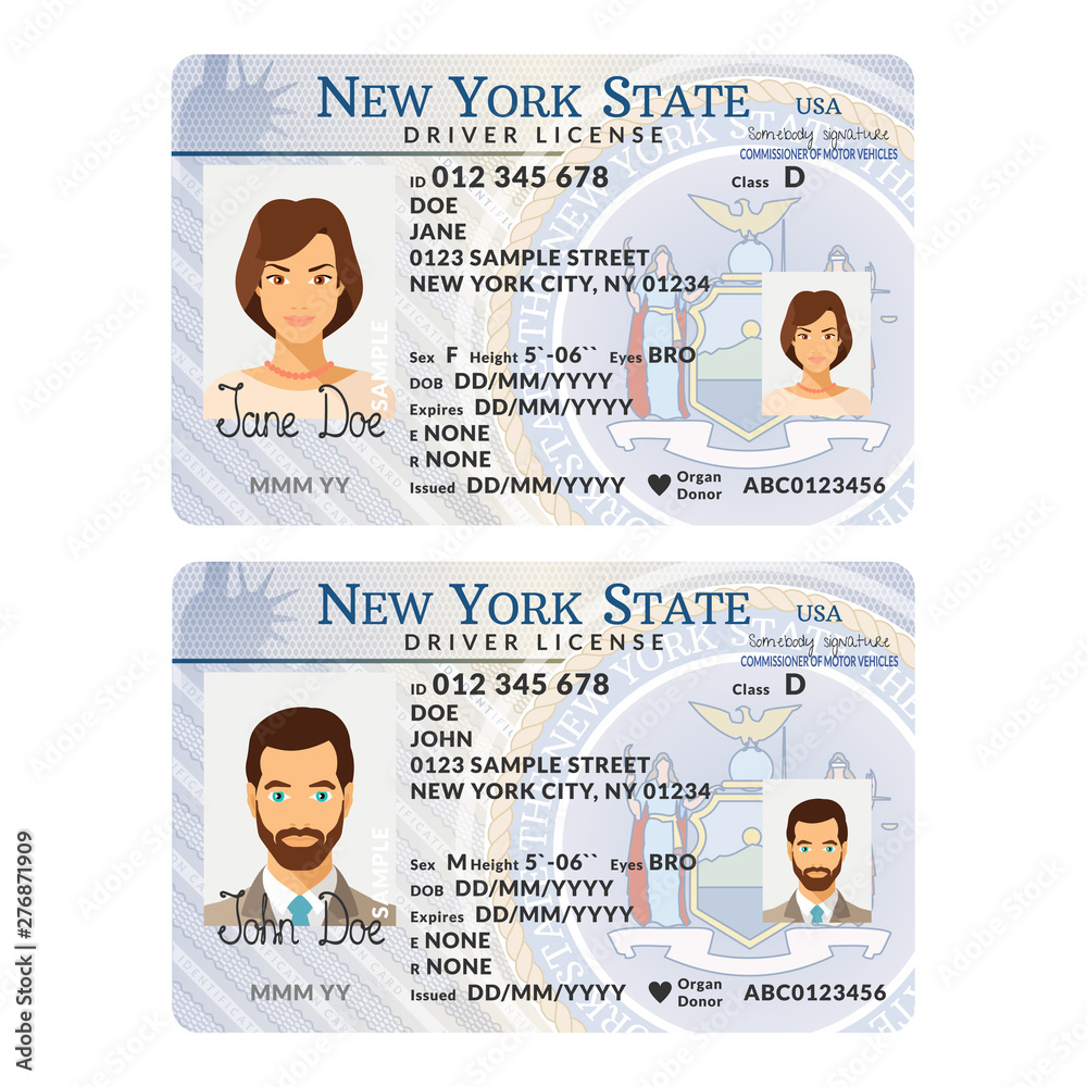 Fototapety, obrazy: Vector template of sample driver license plastic card for USA New York