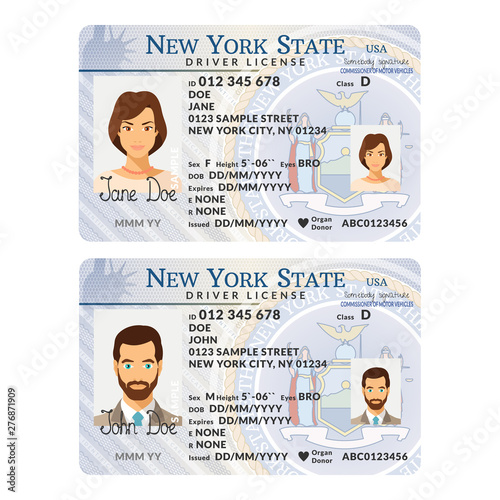 Cuadros en Lienzo Vector template of sample driver license plastic card for USA New York